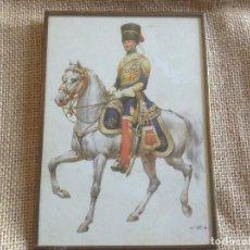 Militaria: LAMINA DE CABALLERIA EN LATON Y CRISTAL 15X11. Lote 107262707