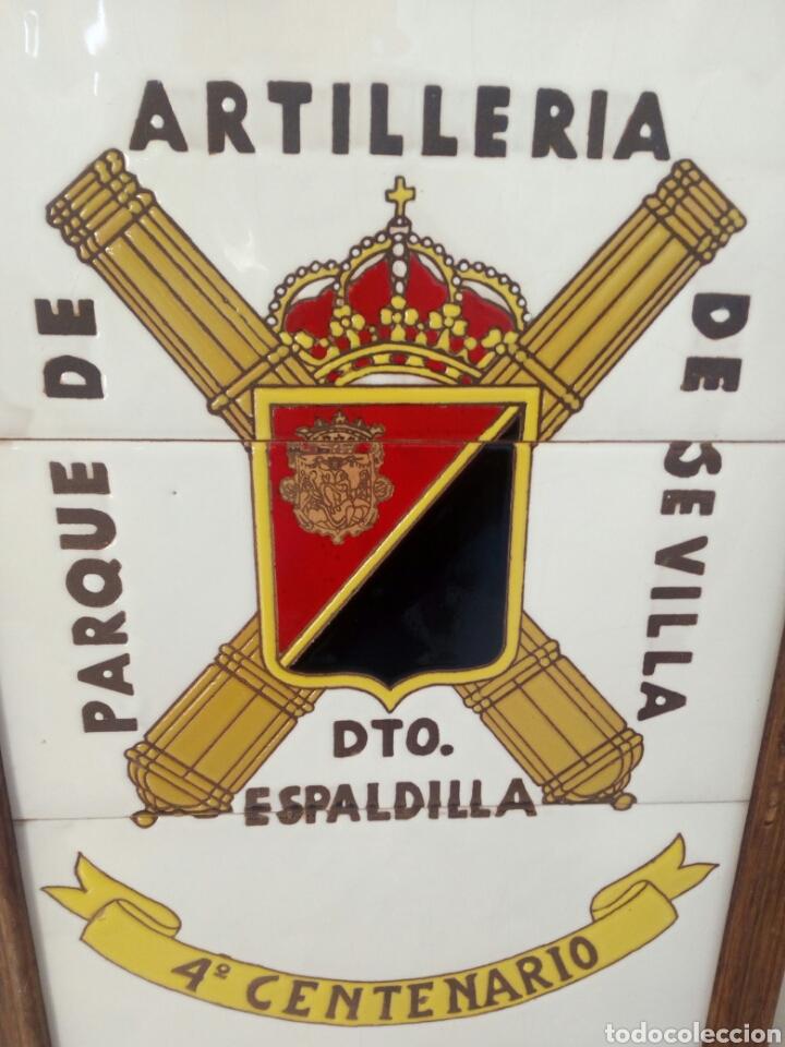Militaria: CUADRO EJERCITO METOPA BALDOSA PORCELANA PARQUE ARTILLERIA SEVILLA ESPALDILLA 4° CENTENARIO 47 X 33 - Foto 2 - 111932191