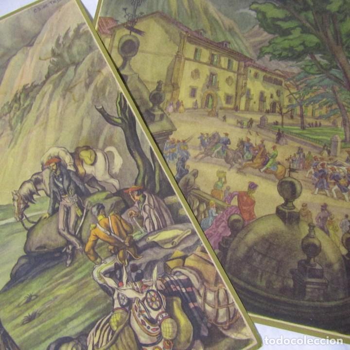 2 LÁMINAS GUERRA CIVIL CARLISTA TIERRAS ANCHAS DE CASTILLA ENTRE UN NUBLADO DE CEJAS AÑOS 50 (Militar - Reproducciones, Réplicas y Objetos Decorativos)