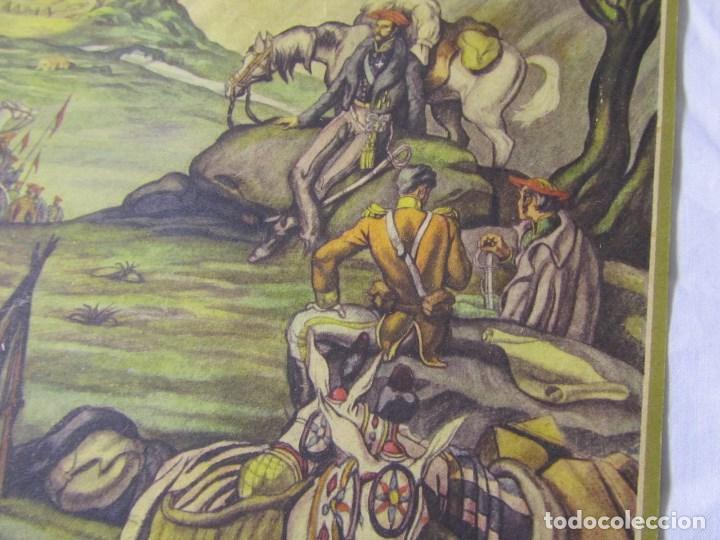 Militaria: 2 láminas Guerra Civil carlista Tierras anchas de Castilla Entre un nublado de cejas Años 50 - Foto 3 - 112658007