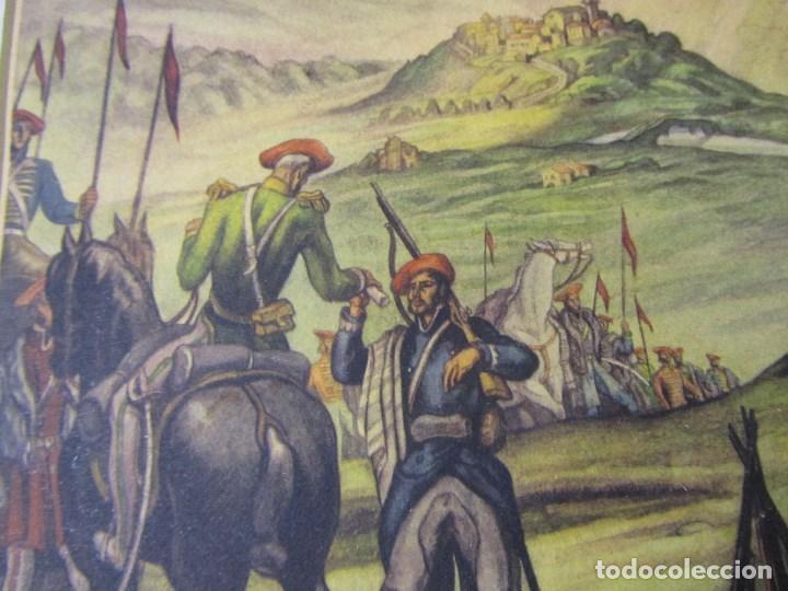 Militaria: 2 láminas Guerra Civil carlista Tierras anchas de Castilla Entre un nublado de cejas Años 50 - Foto 4 - 112658007