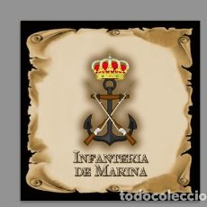 Militaria: AZULEJO 20X20 CON EMBLEMA DE LA INFANTERIA DE MARINA. Lote 112744319