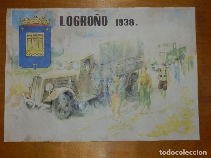 CARTEL - LOGROÑO 1938 - 42 CM X 29,5 CM.. (Militar - Reproducciones, Réplicas y Objetos Decorativos)