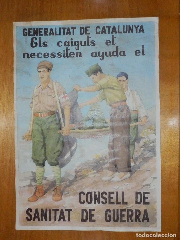 CARTEL - GENERALITAT DE CATALUNYA - CONSELLL DE SANITAT DE GUERRA - 42 CM X 29,5 CM.. (Militar - Reproducciones, Réplicas y Objetos Decorativos)