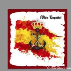 Militaria: AZULEJO 20X20 CON EMBLEMA DE LA INFANTERIA DE MARINA Y VIVA ESPAÑA. Lote 117357727