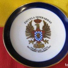 Militaria: ANTIGUO PLATO DE LA ESCUELA INTERARMAS DEL EJERCITO DE TIERRA DIAMETRO:14 CMS.PORCELANAS TAMARIT. Lote 117712455