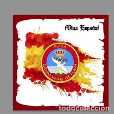 Militaria: AZULEJO 20X20 CON EMBLEMA DEL GRUPO NAVAL DE PLAYA Y VIVA ESPAÑA. Lote 122191447
