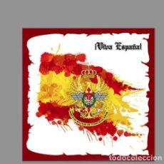 Militaria: AZULEJO 20X20 CON EMBLEMA DEL SERVICIO MILITAR DE CONSTRUCCIONES Y VIVA ESPAÑA. Lote 127758715