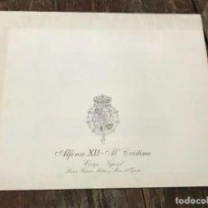 Militaria: ALFONSO XII-Mª CRISTINA. CORTEJO NUPCIAL, CARPETA DE LAMINAS . Lote 128481327