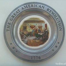 Militaria: ENORME PLATO CONMEMORATIVO REVOLUCION AMERICANA : THE GREAT AMERICAN REVOLUTION 1776. NUMERADO. 1973. Lote 131371870