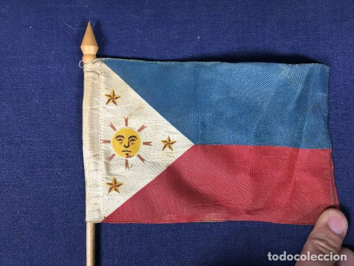 Militaria: bandera filipinas tela madera 1ª mitad s xx 29x5,5cms - Foto 5 - 137993662