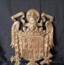 Militaria: METOPA - ESCUDO NACIONAL DE ÁGUILA IMPERIAL EN BRONCE, ÉPOCA DE FRANCO. UNA GRANDE Y LIBRE. Lote 140636730