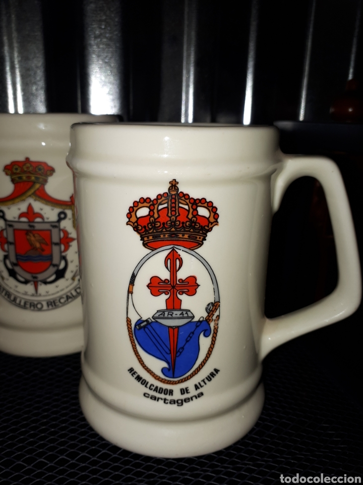 Militaria: Lote 5 jarras motivos militares marina leer descripcion - Foto 6 - 143043262
