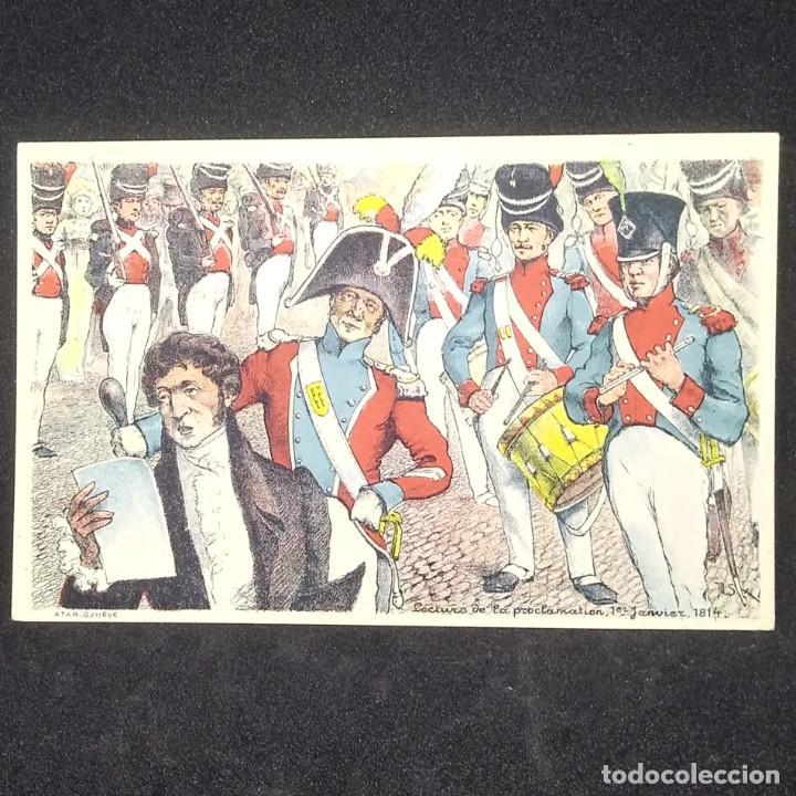 POSTAL LECTURA DE LA PROCLAMACIÓN 1 ENERO DE 1814 FRANCIA (Militar - Reproducciones, Réplicas y Objetos Decorativos)