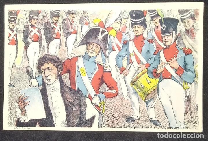 Militaria: Postal Lectura de la proclamación 1 enero de 1814 Francia - Foto 2 - 148010718