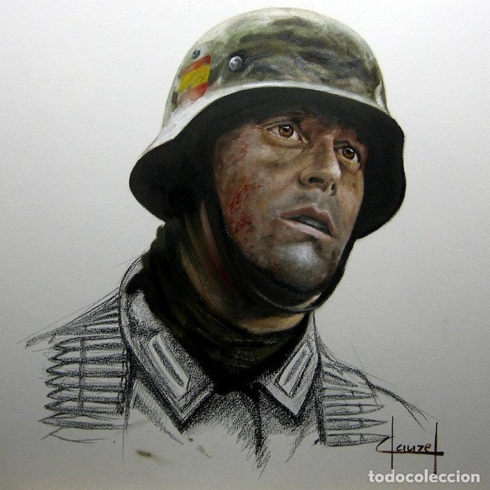 Militaria: BOCETO AL CARBONCILLO ILUMINADO AL OLEO. DIVISION AZUL. WEHRMACHT. EL PESO DE LA GUERRA. CLAUZEL - Foto 2 - 151190186