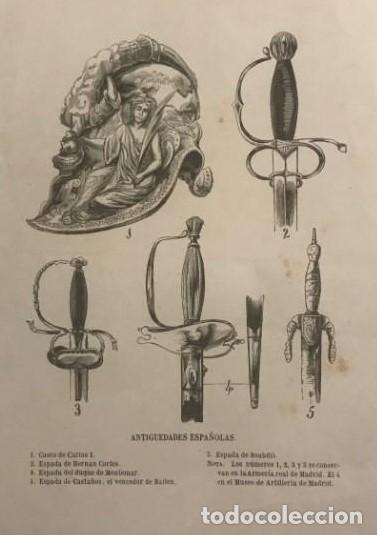 ANTIGÜEDADES ESPAÑOLAS. CASCO DE CARLOS I. ESPADA DE HERNÁN CORTÉS 15X23,5 CM (Militar - Reproducciones, Réplicas y Objetos Decorativos)