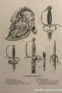 Antigüedades españolas. Casco de Carlos I. Espada de Hernán Cortés 15x23,5 cm