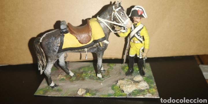 SOLDADO DE PLOMO A CABALLO, DRAGONES DE LUSITANA, PINTADO A MANO 1805 (Militar - Reproducciones, Réplicas y Objetos Decorativos)