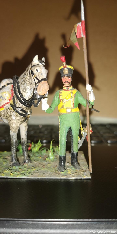 Militaria: Soldado de plomo pintado a mano artesanalmente probablemente lancero de cazadores - Foto 2 - 153091836