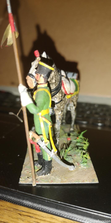 Militaria: Soldado de plomo pintado a mano artesanalmente probablemente lancero de cazadores - Foto 3 - 153091836