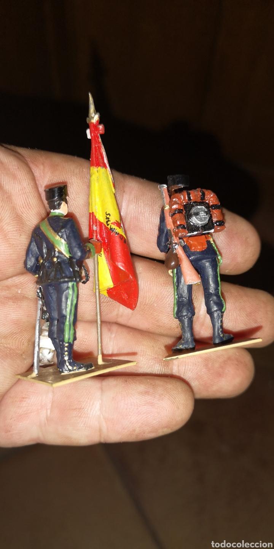 Militaria: Conjunto de 3 soldados de plomo, pintados a mano artesanalmente de cazadores de montaña - Foto 3 - 153691950