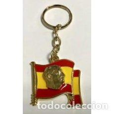 Militaria: LLAVERO METAL DE LA BANDERA DE ESPAÑA CON EL ROTRO DE FRANCO. Lote 154217166