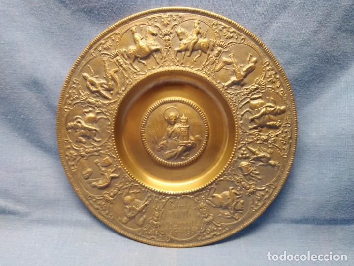 PLATO BRONCE CONMEMORATIVO FÁBRICA ARTILLERÍA SEVILLA 1565 - 1936 SANTA BÁRBARA REYES CATÓLICOS (Militar - Reproducciones, Réplicas y Objetos Decorativos)