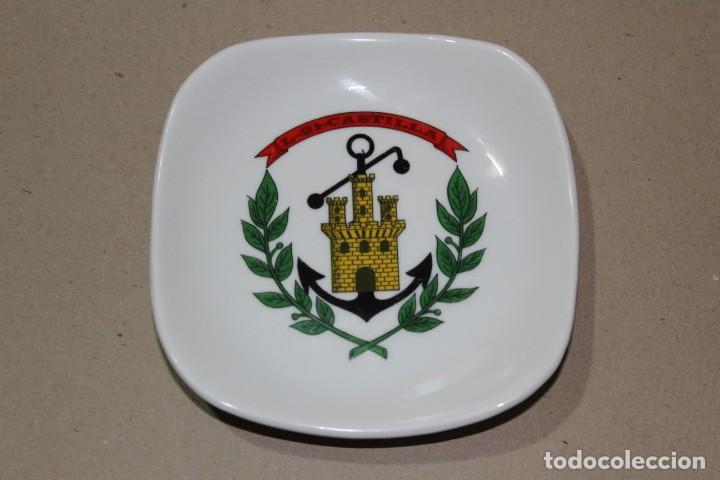 CENICERO O PLATO DE CERAMICA BUQUE DE LA ARMADA: BUQUE DE TRANSPORTE L - 21 CASTILLA - 12,5 CM (Militar - Reproducciones, Réplicas y Objetos Decorativos)