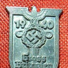 Militaria: SHIELD GROSS BRITANIEN 1940. 1940 BATALLA DE INGLATERRA. MEDIDAS 60 X 40 MM. . Lote 162923494