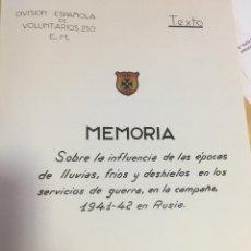 Militaria: DIVISION AZUL. MEMORIA SOBRE FRÍOS EN SERVICIOS DE GUERRA EN CAMPAÑA. 1941-1942 EN RUSIA.. Lote 163707026