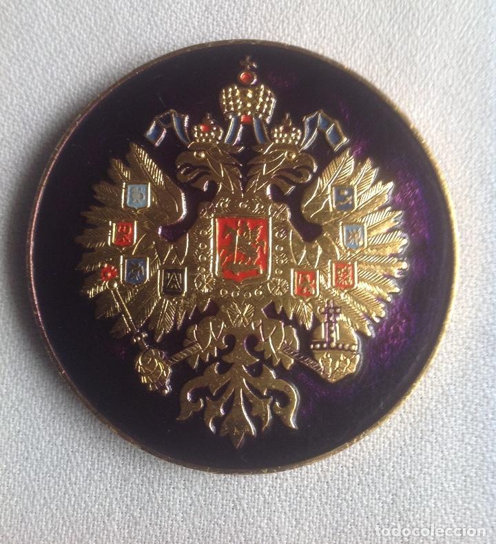 INSIGNIA ESCUDO AGUILA BICÉFALA RUSIA (Militar - Reproducciones, Réplicas y Objetos Decorativos)