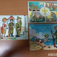 Militaria: 3 ANTIGUAS POSTALES DE LOS QUINTOS, MILITARES PARA LA FAMILIA Y NOVIAS, AÑOS 60. Lote 174489057