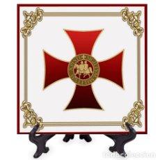 Militaria: AZULEJO 15X15 CON CRUZ Y SELLO DE CABALLERO TEMPLARIO. Lote 174896883