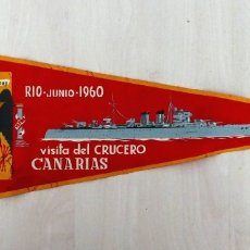 Militaria: ARMADA ESPAÑOLA. CRUCERO CANARIAS. BANDERÍN HISTÓRICO. Lote 176449665