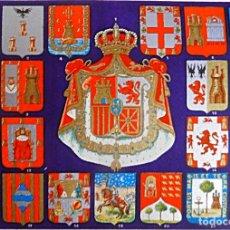 Militaria: CARTEL CON ESCUDOS DE ESPAÑA HASTA 1935. Lote 181508413