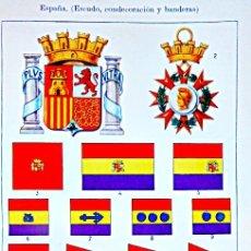 Militaria: CARTEL ESCUDOS BANDERAS Y CONDECORACIONES DE ESPAÑA HASTA 1935. Lote 181509900