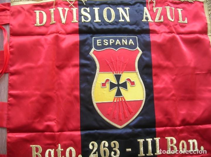 Militaria: ESTANDARTE BORDADO FALANGISTA. DIVISION AZUL. FALANGE. TELA DE RASO E HILO DORADO.EXCELENTE RÉPLICA. - Foto 3 - 182086670
