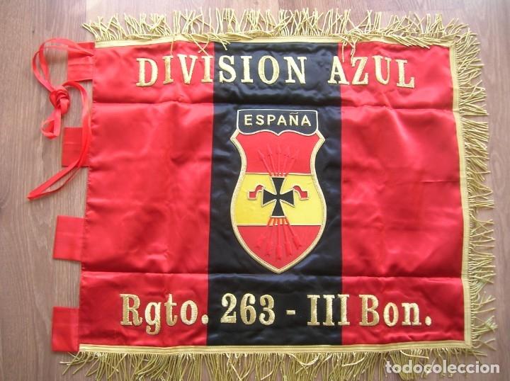 Militaria: ESTANDARTE BORDADO FALANGISTA. DIVISION AZUL. FALANGE. TELA DE RASO E HILO DORADO.EXCELENTE RÉPLICA. - Foto 5 - 182086670