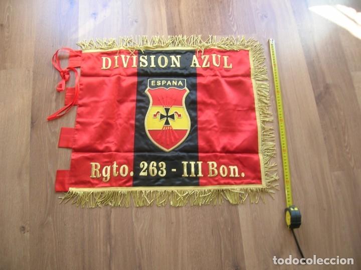 Militaria: ESTANDARTE BORDADO FALANGISTA. DIVISION AZUL. FALANGE. TELA DE RASO E HILO DORADO.EXCELENTE RÉPLICA. - Foto 6 - 182086670