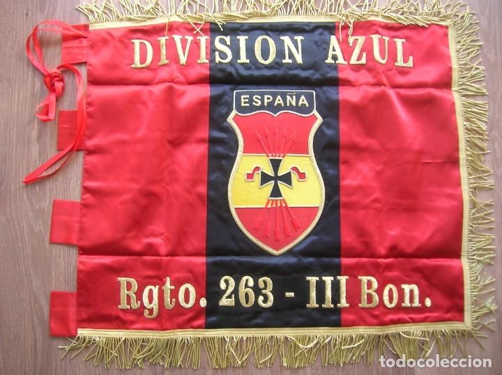 Militaria: ESTANDARTE BORDADO FALANGISTA. DIVISION AZUL. FALANGE. TELA DE RASO E HILO DORADO.EXCELENTE RÉPLICA. - Foto 10 - 182086670