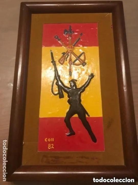 ANTIGUO Y RARO CUADRO LEGION ESPAÑOLA FIRMADO COLL 82 (Militar - Reproducciones, Réplicas y Objetos Decorativos)
