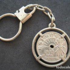 Militaria: LLAVERO MONEDA 25 CENTIMOS ESPAÑA 1937. II AÑO TRIUNFAL. Lote 183512205