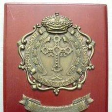 Militaria: METOPA PORTAAVIONES PRINCIPE DE ASTURIAS - BRONCE SOBRE MADERA - MET-183. Lote 184391807