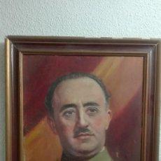 Militaria: CUADRO DE EPOCA FRANCISCO FRANCO PINTADO SOBRE TABLA.. Lote 188644845
