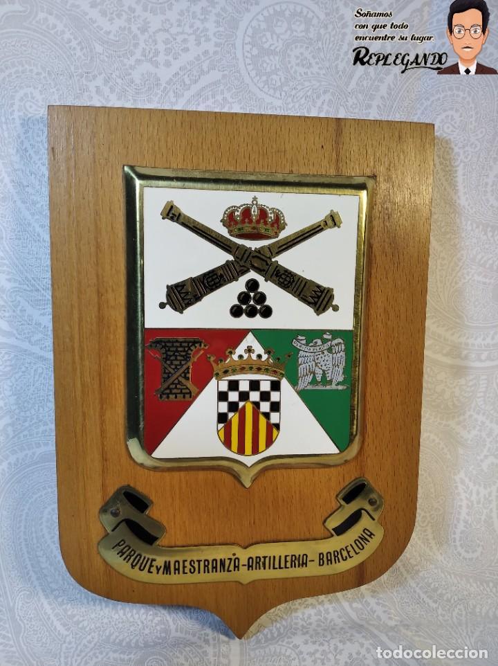 METOPA MILITAR (PARQUE Y MAESTRANZA - ARTILLERÍA ) - 20X14 CM. (PLACA MADERA CON ESCUDO) BARCELONA (Militar - Reproducciones, Réplicas y Objetos Decorativos)