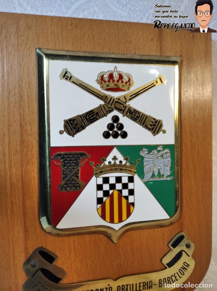 Militaria: METOPA MILITAR (PARQUE Y MAESTRANZA - ARTILLERÍA ) - 20X14 CM. (PLACA MADERA CON ESCUDO) BARCELONA - Foto 3 - 189749590