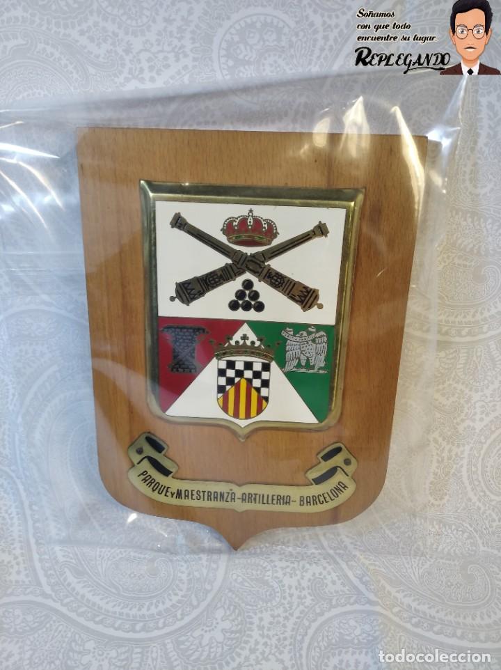 Militaria: METOPA MILITAR (PARQUE Y MAESTRANZA - ARTILLERÍA ) - 20X14 CM. (PLACA MADERA CON ESCUDO) BARCELONA - Foto 9 - 189749590