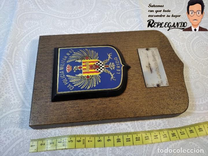 Militaria: METOPA MILITAR (CIA POLICÍA MILITAR Nº43) - 18X12 CM. (PLACA DE MADERA CON ESCUDO) ESPAÑA - Foto 7 - 189750077