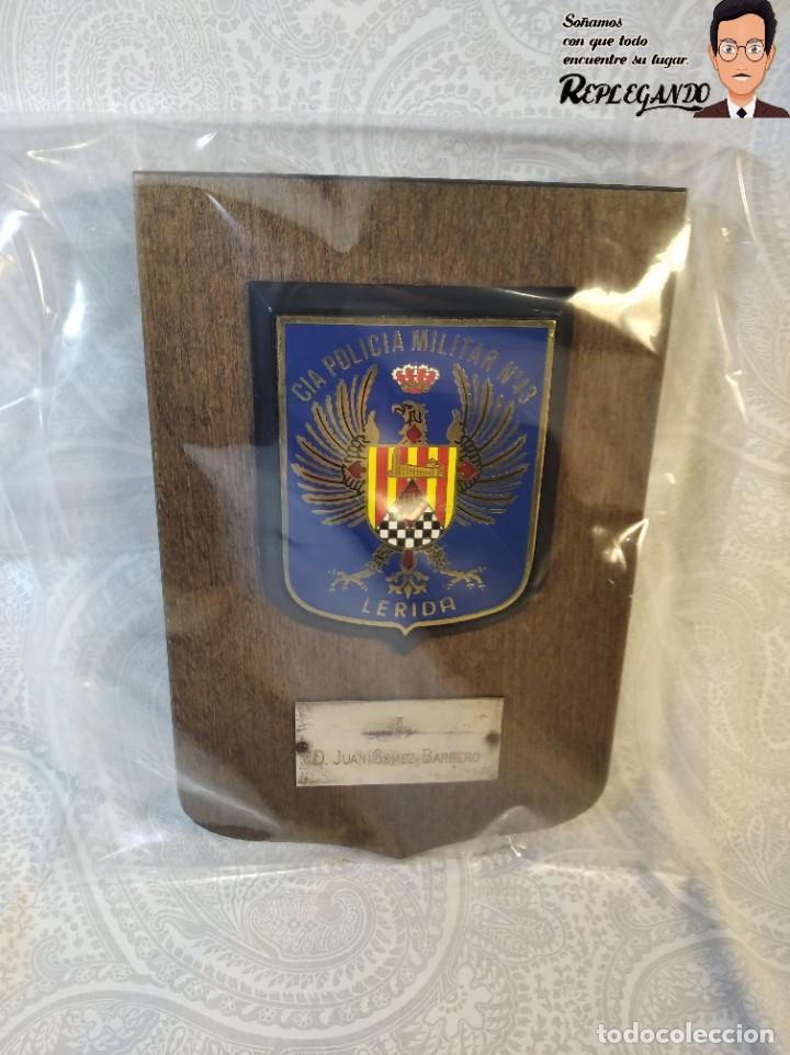 Militaria: METOPA MILITAR (CIA POLICÍA MILITAR Nº43) - 18X12 CM. (PLACA DE MADERA CON ESCUDO) ESPAÑA - Foto 8 - 189750077